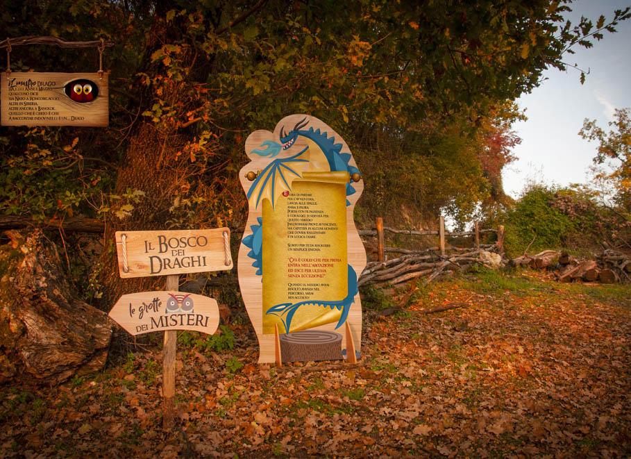 parco tematico didattico nel bosco a tema draghi