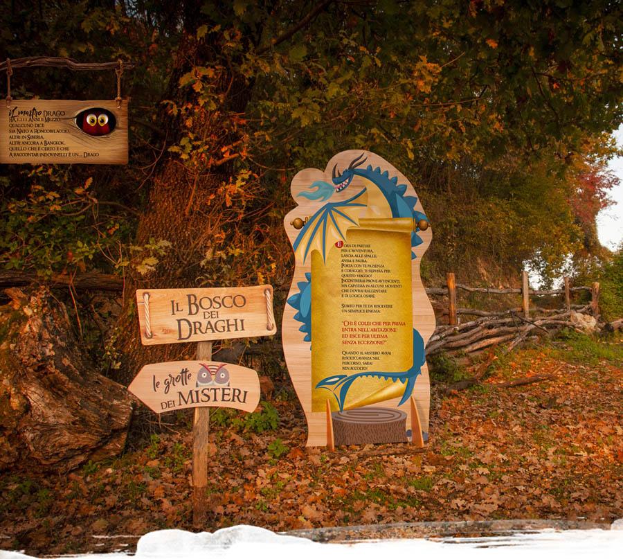parco temattico draghi e cavalieri, parco a tema nel bosco in legno, parco didattico