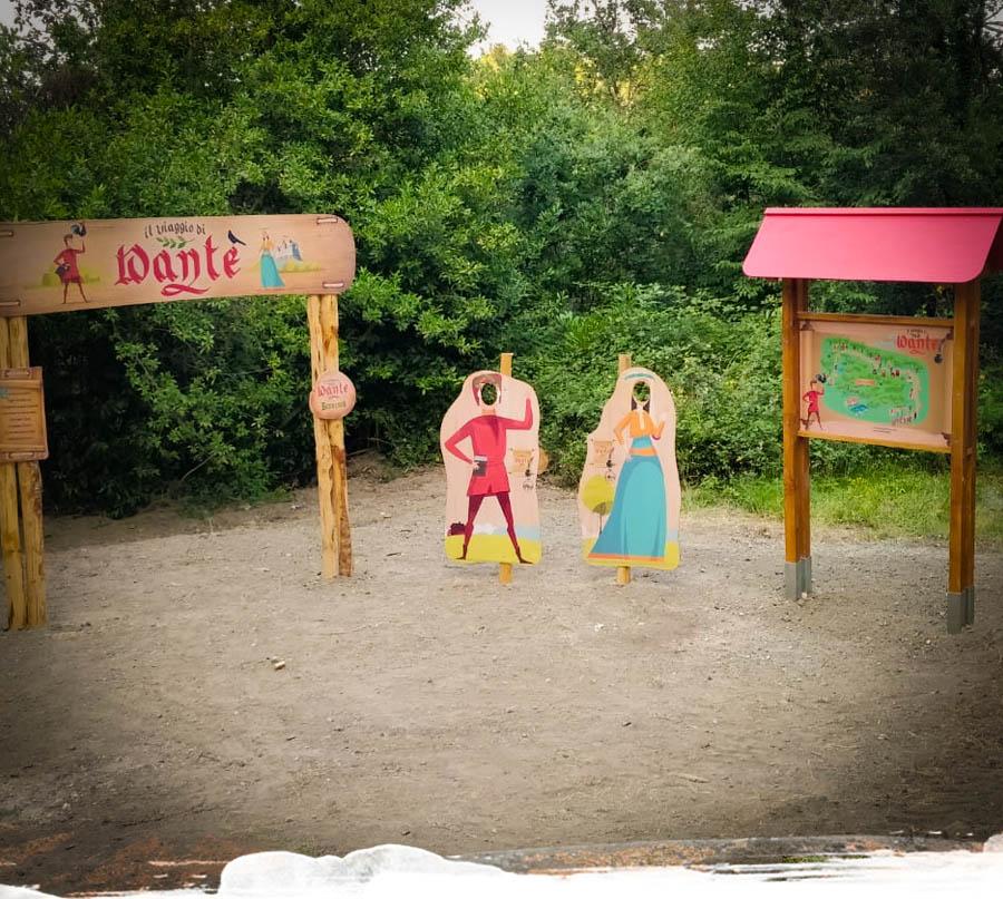 parco temattico Dante Alighieri, parco a tema nel bosco in legno, Monteriggioni parco didattico