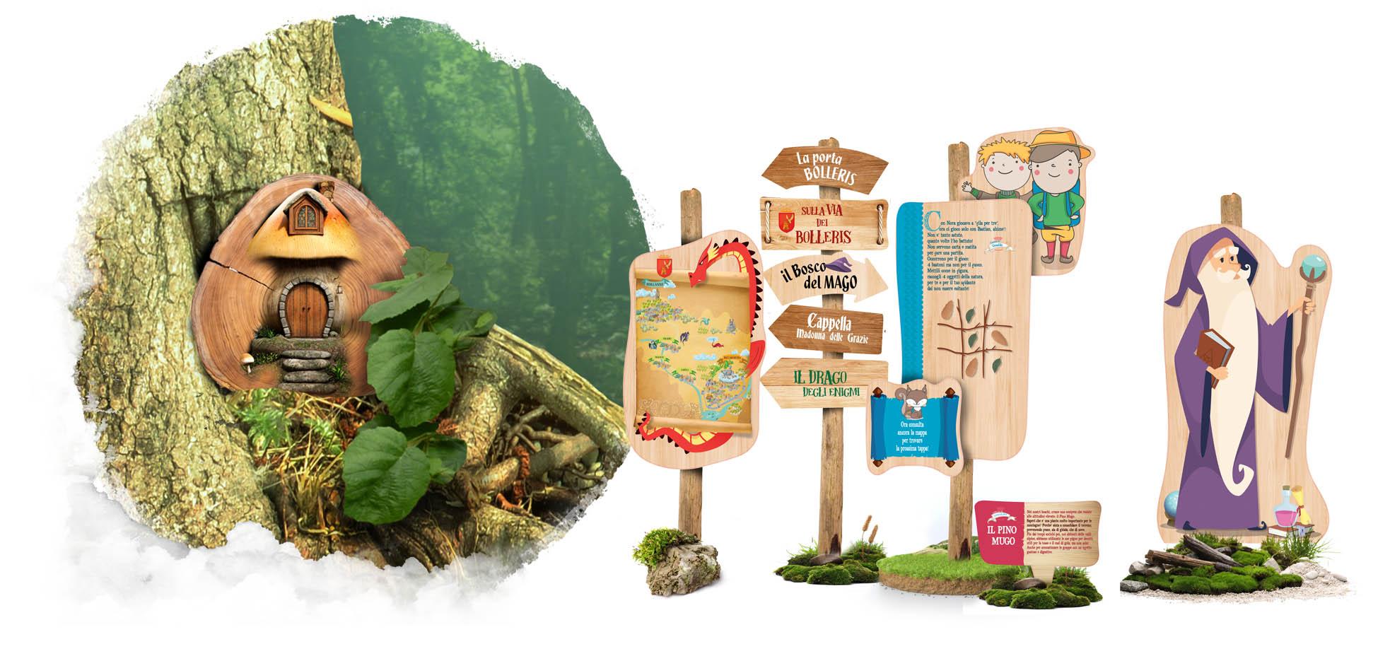 percorso tematico nel bosco, progettazione di parchi didattici e tematici